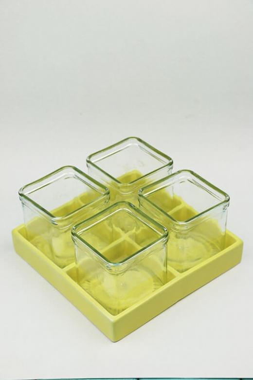 Керамическая поставка со стеклянными кашпо